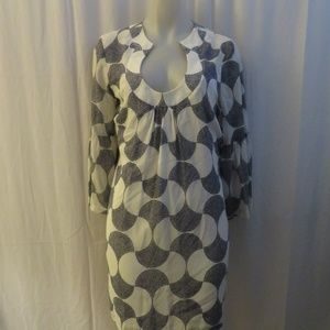 TRINA TURK BELL SLEEVE CREAM & BLUE SHEATH DRESS L